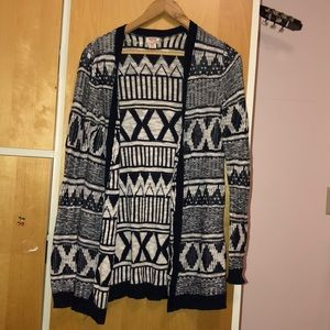 dark navy and white patterned cardigan